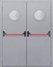Противопожарная дверь Двупольная с круглым стеклом с антипаникой