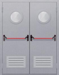 Противопожарная дверь Двупольная с круглым стеклом с решеткой и антипаникой