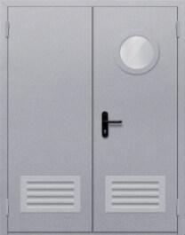 Противопожарная дверь Двупольная с круглым стеклом с решеткой