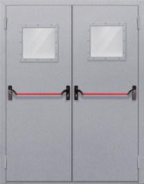 Противопожарная дверь Двупольная с квадрантным стеклом с антипаникой