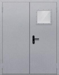 Противопожарная дверь Двупольная с квадрантным стеклом