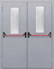 Противопожарная дверь Двупольная с прямоугольным стеклом с антипаникой