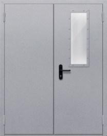 Противопожарная дверь Двупольная с прямоугольным стеклом