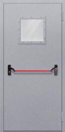 Противопожарная дверь Однопольная с квадрантным стеклом с антипаникой