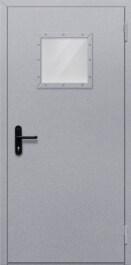 Противопожарная дверь Однопольная с квадрантным стеклом