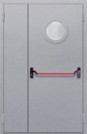 Противопожарная дверь Полуторная с круглым стеклом с антипаникой