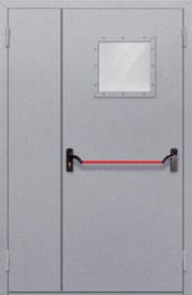 Противопожарная дверь Полуторная глухая с квадрантным стеклом с антипаникой