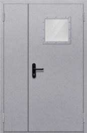 Противопожарная дверь Полуторная глухая с квадрантным стеклом