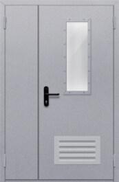 Противопожарная дверь Полуторная с прямоугольным стеклом с решеткой