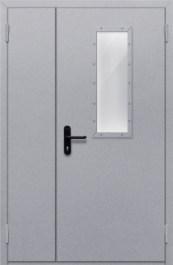 Противопожарная дверь Полуторная глухая с прямоугольным стеклом
