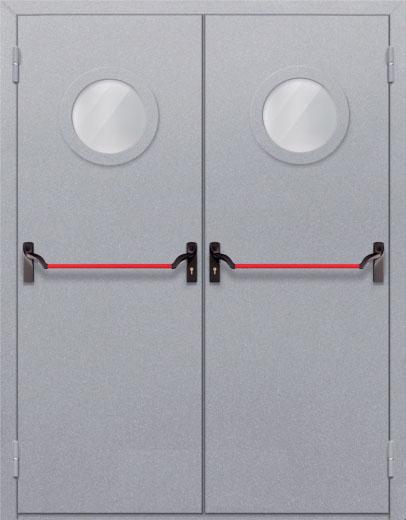 Противопожарная двупольная дверь с круглым стеклом ДПМ 02 EIW60 с антипаникой