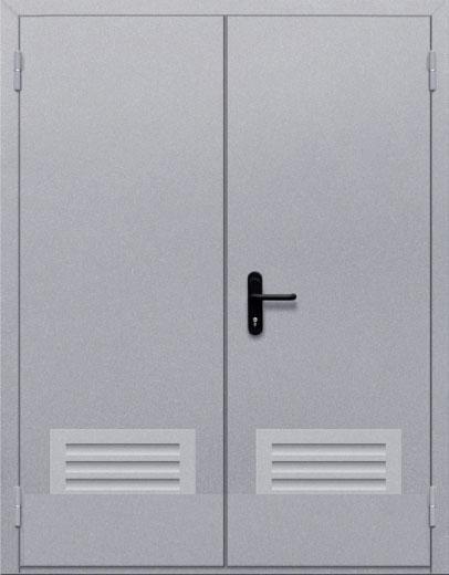 Противопожарная двупольная глухая дверь ДПМ 02 EI60 с решеткой