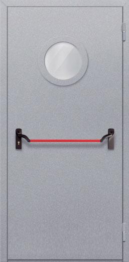 Противопожарная однопольная дверь с круглым стеклом ДПМ 01 EIW60 с антипаникой