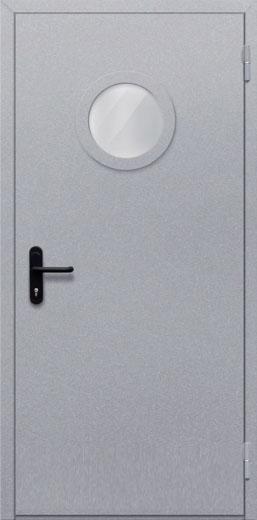 Противопожарная однопольная дверь с круглым стеклом ДПМ 01 EIW60