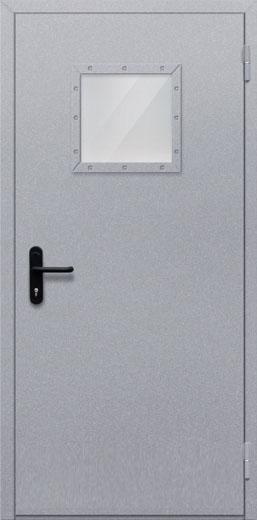 Противопожарная однопольная дверь с квадрантным стеклом ДПМ 01 EIW60