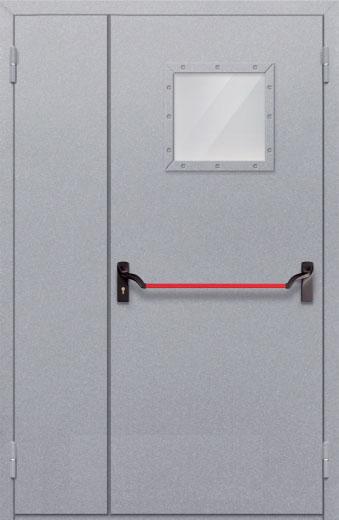 Противопожарная полуторная дверь с квадрантным стеклом ДПМ 02 EIW60 с антипаникой
