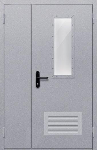 Противопожарная полуторная дверь с прямоугольным стеклом ДПМ 02 EIW60 с решеткой