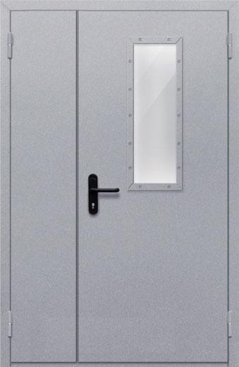 Противопожарная полуторная дверь с прямоугольным стеклом ДПМ 02 EIW60