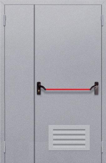 Противопожарная полуторная глухая дверь ДПМ 02 EI60 с решеткой и антипаникой
